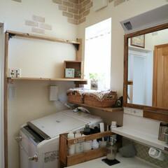 TOTO/洗面所/カゴ/DIY/ハンドメイド/雑貨/... 我が家の洗面所  洗濯機周りの棚全てDI…