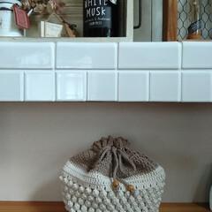 フレグランス&デオドランントルームミスト ホワイトムスク 280ml 爽やかでほのかに甘いソープの香り(油とり紙)を使ったクチコミ「在庫のコットン糸で、巾着袋を作りました😊…」