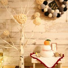 鏡餅/お正月/あけおめ/冬/おうち/ハンドメイド/... ハンドメイドの鏡餅と、LEDの白樺ツリー…
