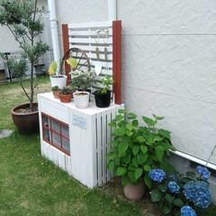ガーデンウィール/室外機カバー/garden/グリーン/DIY/雑貨/... 500円でブルーの紫陽花GET❤