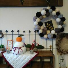 かぎ編み/編み物/リース/鏡餅/お正月/雑貨/... かぎ編みの鏡餅と、友人が作ってくれたお正…