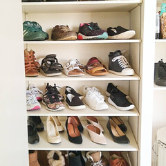 靴の片づけ/靴箱収納/靴棚/靴収納/靴箱/収納/... 我が家の靴箱は奥行きがあるので,靴を前後…
