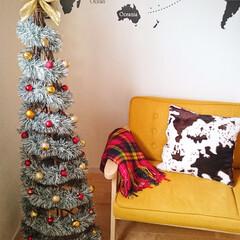 クリスマス/ハンドメイド/手作り/リメイク/インテリア/DIY/... 園芸用のトレリスに,太めのモールをグルグ…