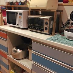 西海岸風/アンティーク/北欧風/DIY/キッチン 北欧風にしたつもりが…マスキングテープの…