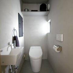 トイレ/モルタル/モザイクタイル/建築士/建築家/設計士/... 無機質な雰囲気を目指したトイレ。壁はモ…
