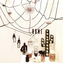 ハロウィン/ハロウィンインテリア/玄関/フライングタイガー/キャンドゥ/ダイソー/... チープな雑貨を飾っただけの玄関ハロウィン👻