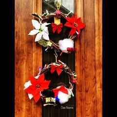 クリスマス/リース/玄関/ダイソー/体験/お子様/... 体験イベントでお子様たちが作りました! …