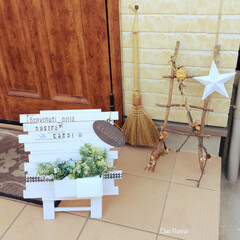 スノコ/すのこ/ラダー/枝/星/スター/... 枝で作ったラダーと スノコで作った看板で…