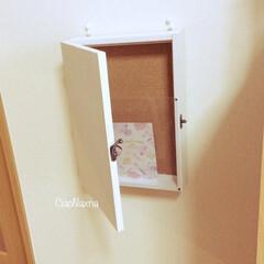 便利/白/室内郵便ポスト/子供がお手伝い/DIY/100均/... 室内郵便ポスト!  はじめはネックレスを…