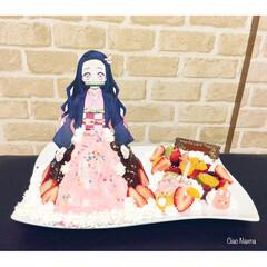 お誕生日/ケーキ/苺/ねずこ/鬼滅の刃/キャラクター/... お子様が 鬼滅の刃にハマりまして  ねず…