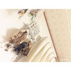 ドライフラワー/DIY/窓枠風diy/白/カーテン/ミニチュアカーテン/... ドライフラワー 好きです〜!