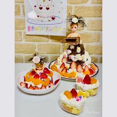 リカちゃん/マキちゃん/ハート/ケーキ/ドールケーキ/簡単/... リカちゃんケーキ。  アップしてないのが…