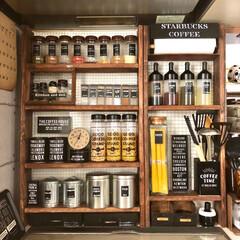 キャンドゥ/カフェ風/男前/1×4材/調味料棚/DIY/... 1×4材を大量に購入したので、調味料棚を…