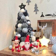 ポンポンツリー/雪だるま/トナカイ/サンタ/羊毛フェルト/クリスマス/...