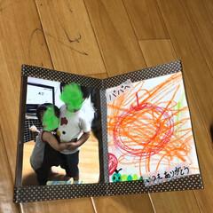 フォトフレーム/父の日/100均 父の日に作りました。  絵は上の子が描き…