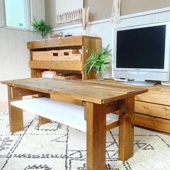 DIY女子/DIY主婦/テーブルDIY/DIY/簡単DIY/LIMIADIY同好会/... こんばんは✩.*  自室のテーブルをDI…(1枚目)