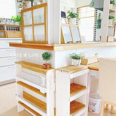キッチンカウンターDIY/キッチンカウンター下/DIY女子部/DIY女子/フォロー大歓迎/LIMIAインテリア部/... ❁¨̮ キッチンカウンター下に 棚を設置…
