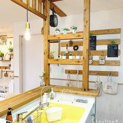 DIY女子/カウンターキッチン/壁面DIY/壁面ディスプレイ/壁面インテリア/キッチン/... (1枚目)