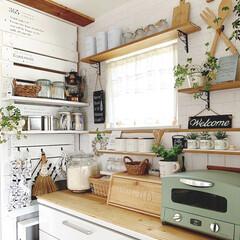 グラファイトトースター 2枚焼き CAT-GS13B(グリーン) | アラジン(トースター)を使ったクチコミ「わが家のキッチンのこだわりは ラブリコで…」