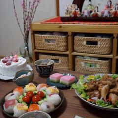 雛祭りごはん/雛人形/ひな祭り/ピンク/暮らし 我が家は今年初節句です!🌸 生後2か月の…(1枚目)