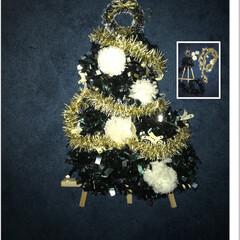 イーゼル/クリスマス/100均/セリア/ハンドメイド 2本のモールをイーゼルに巻き、ボンボンを…