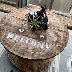 ステンシル/ケーブルドラムリメイク/DIY こんばんは⭐️ ケーブルドラムをテーブル…(2枚目)
