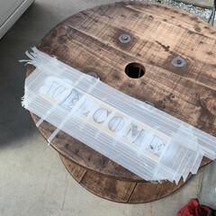 ステンシル/ケーブルドラムリメイク/DIY こんばんは⭐️ ケーブルドラムをテーブル…(7枚目)