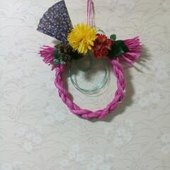 私の手作り/小さなお正月飾り/お正月飾り/水引/ペーパーヤーン ペーパーヤーンと水引です 左側がDAIS…(2枚目)