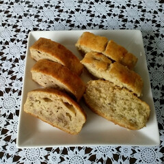腰痛/バナナケーキ胡桃入り/バナナケーキ/チーズナン/レーズンシュガーバターパン/手作り  こんにちは😃  先週の水曜日から腰痛が…(4枚目)