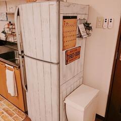 冷蔵庫リメイク/リメイクシート/100均/ダイソー/インテリア/キッチン ダイソーの リメイクシート6枚で完成♪ …