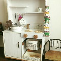 シンプルインテリア/シンプルライフ/おままごとキッチン/DIY/雑貨/100均/... 我が家の手作りおままごとキッチンです(о…