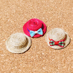 麻紐/麦わら帽子/ペットボトルの蓋/雑貨/ハンドメイド ペットボトルの蓋で麦わら帽子。 麻紐を巻…