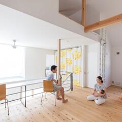 フリースペース/無垢材/ハイサイドウィンドウ/雑貨/夫婦/家族/... . ~収納スペースにはカーテンを配置して…