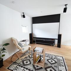 フリースペース/大型スクリーン/観葉植物/プロジェクター/ラグマット/趣味/... ~大型スクリーンで趣味をタノシム . 家…