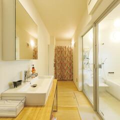 自然素材/無垢材/無垢杉の床/漆喰の壁/白い壁/W断熱の家/... . ~ガラス扉の明るいバスルーム . 家…