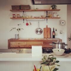 自然素材/無垢材/無垢杉の床/漆喰の壁/白い壁/W断熱の家/... . ~ナチュラルに仕上げられた  キッチ…