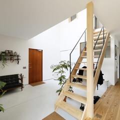 自然素材/無垢材/無垢杉の床/漆喰の壁/白い壁/四角の家/... . ~階段下にハンガーパイプを設置して …