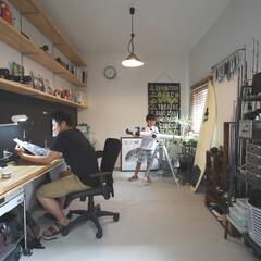 自然素材/無垢材/無垢杉の床/漆喰の壁/白い壁/W断熱/... . ~書斎として活用した  広い土間スペ…
