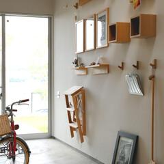 自然素材/無垢材/無垢杉の床/漆喰の壁/白い壁/W断熱の家/... . ~勝手口に繋がる土間には  掃除用具…