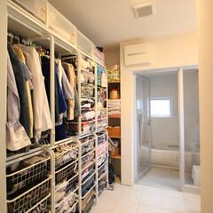 自然素材/無垢材/無垢杉の床/漆喰の壁/白い壁/W断熱の家/... . ~大空間の洗面脱衣室を活用して  フ…
