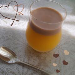 手づくりスイーツ 100%みかんジュースと 豆乳ココアババ…(1枚目)