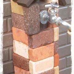 庭づくり/ブロックタイル/暮らし/DIY 庭の水道DIY  本当は蛇口も交換したい