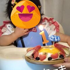 疲れたばぁば/1歳行事/餅ふみ/お誕生日ケーキ 数日遅れて1歳の餅ふみとお誕生日ケーキ …(2枚目)
