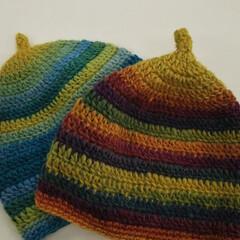 鍵編み/手作り/どんぐり帽子/ダイソー おはようございます🎵 夜勤中、夜中に編み…