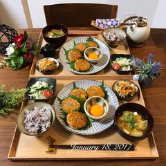 和食器/和食/おうちごはん/ふたりごはん/夕飯/夜ごはん/... 今日の夜ごはんは蓮根入った鶏つくねです(…(1枚目)
