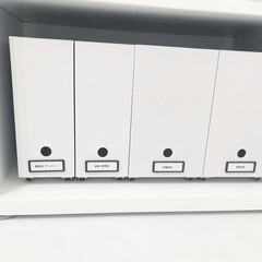 無印×ダイソー/書類収納DIY/書類収納/DAISO/ファイルボックス収納/ファイルボックス/... 無印のファイルボックス に、ダイソーの『…