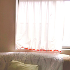 家にあるもの/アイデア/紐/リボン/縫わない/カーテンカット/... カーテンの裾が長すぎる事が気になってたの…