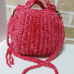 オーダー/Tシャツヤーン/リサイクルヤーン/バッグ/ファッション/雑貨/... 以前作ったバッグを作り替えてみました😃 …