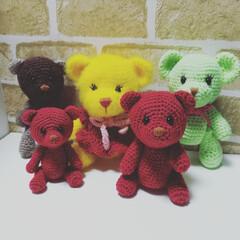 編み物/くまちゃん/編みぐるみ/あみぐるみ/手編み/テディベア/... くまのあみぐるみを作りました😊