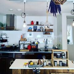 マグカップ/ドライフラワー/吊り下げランプ/ウッドワン/カフェ風/カインズホーム/... キッチンに日差しが入るとさらに明るくなる…